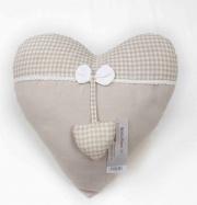 Blanco Raya SD175068 Cuscino Arredo imbottito a forma di cuore 40x40 cm Ecrù