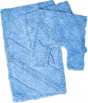 Bluesì GAT354 Tappeto bagno Set 3 pezzi in Cotone Tinta unita colore Azzurro SKy 28679