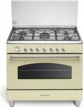 Bompani BO684JMN Cucina a Gas con Forno Elettrico 5 Fuochi 90x60 cm Crema