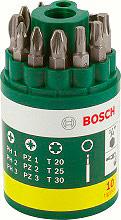 Bosch 2607019452 Kit con 9 Punte per avvitamento Torx Bit + 1 Punta Universale