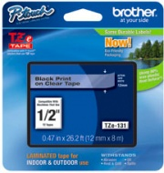 Brother TZE131 Etichetta P-touch Black on Clear