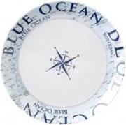 Brunner 0830025N.C8C Piatto piano 25 cm 100% Melamina  Bianco Blu con decoro