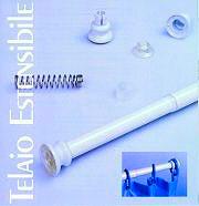 CPE K20371002 Telaio Doccia Vasca Estensibile per Tenda ø mm. 25 L cm. 125-215 Bianco