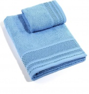 Caleffi AD0826 Set Asciugamani Bagno 1+1 in Spugna di Cotone colore Azzurro - Gim