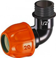 """Claber 90324 Raccordo a gomito Ø 20 mm Filetto 12"""" M per impianti irrigazione"""