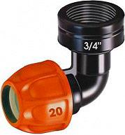 Claber 90326 Raccordo a gomito Ø 20 mm valvola drenaggio e irrigatore Colibrì