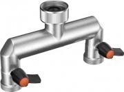 "Claber 9601 Presa rubinetto a 2 vie regolabili Presa34"" 20-27 mm Metal-Jet"