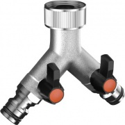 "Claber 9602 Presa rubinetto a 2 vie regolabili Presa34"" 20-27 mm Metal-Jet"