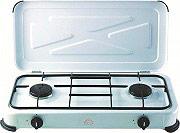 DCG Eltronic Fornello a gas portatile Campeggio 2 fuochi col. Bianco EKP 2422