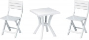 DIMAPLAST DUETTO_WH Tavolo da giardino sedie da giardino 60x60x70h cm  - OUTLET