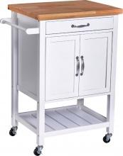 DecHome 801068 Carrello Da Cucina Salvaspazio In Legno Bianco 65x48x90 cm
