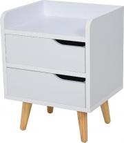 DecHome 831D54 Comodino Con 2 Cassetti Gambe In Pino Mobile Per Casa Bianco