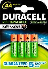 Duracell DURALOCK 2400 Confezione 4 batterie Ricaricabili STILO AA