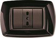 ELETTROCANALI Placca Placchetta Elettrica Copri Interruttore 4P Nero ECL2984N
