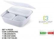 Ecoplast 528235 Contenitori Set 4 pezzi Dorica con Coperchio Ghiaccio