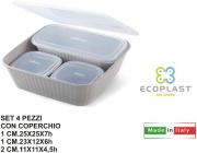 Ecoplast 528242 Contenitori Set 4 pezzi Dorica con Coperchio Tortora