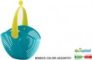 Ecoplast 529065 Cestino Plastica Ovale Con Manico Turchese cm 26x15x19h