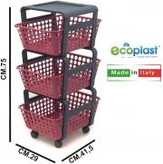Ecoplast 590021 Carrello Portafrutta Modula 3 Piani Rosso Veneziano cm 29x42x75h