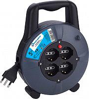 Electraline 49025 Prolunga elettrica Avvolgibile 4 prese Schuko +Spina 16 A 5 Mt