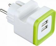 Electraline 570071 Caricabatterie Mini Universale + Supporto 2 porte USB Bianco