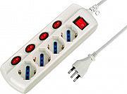 Electraline 62058 Ciabatta Elettrica 4 Posti Schuko 2 P+T singoli interruttori 62024