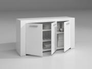 FORES HABITAT 006620A Credenza 3 Ante legno 144x42x80h cm Bianco  Linea Ambit