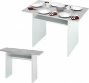 FORES HABITAT 0L4587A Tavolo con console 120x3570xh75 cm Bianco  Cemento