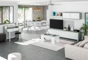 FORES HABITAT OL1640A Tavolino salotto moderno 2 ripiani 43x100x50h cm Bianco