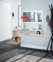 FORES HABITAT OL6743A Mobile Ingresso Moderno legno 95x26x19h cm Bianco Cemento