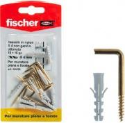 Fischer 504438 Tasselli universali nylon ø 4 mm vite gancio appendiquadri 10 pz
