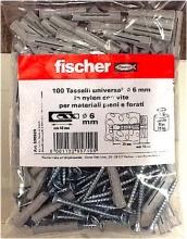 Fischer 536929 Confezione 100 tasselli nylon 6 mm con vite zinco cromata croce