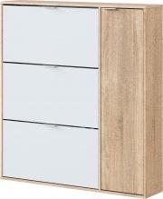Fores 017818F Scarpiera 3 Ribalte 1 Anta legno 115x22x106cm Bianco Rovere  Classe