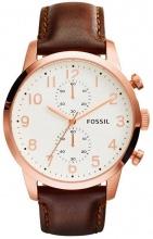 Fossil FS4987 Orologio Uomo Acciaio Analogico Cronografo Cinturino Pelle Marrone