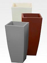 Vaso Per Piante In Resina Colorata Per Interno / Esterno Quadrato Cm  40X40X90H Ghiaccio   HOME QUADRO