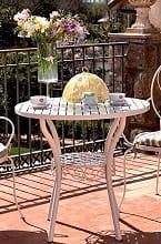 Giardini del Re Tavolo da Giardino in Ferro battuto Tavolino Esterno 80x75cm NaomiWH