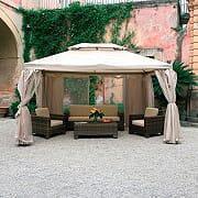 Giardini del Re Gazebo 4x4 da Giardino Alluminio + Zanzariera Copertura Sahara