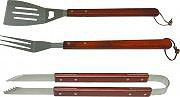 Giardini del Re SET ATTRAZZI BBQ LEGNO Set 3 attrezzi per Barbecue in acciaio con manico in legno