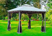 Giardini del Re Gazebo 3x3 Giardino Esterno Zanzariera Telo Top Copert Smeralda