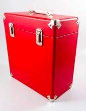 GPO VINYLCASERED Valigia Trasporto Vinili 33 giri Vintage con Doppia Cerniera colore Rosso