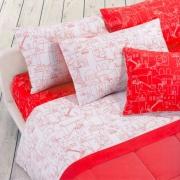 Gabel IOS Completo Letto Singolo cotone Sopra + Sotto + Federa Rosso