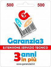 Garanzia 3 EXTGAR1 Estensione del Servizio Tecnico Fino A 500,00 Euro
