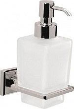 GEDY 698113 Dispenser Sapone Liquido da Parete Vetro e Acciaio Bianco 6981 G-Colorado