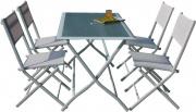 Giardini del Re HFS-268 Tavolo da giardino con sedie Tavolo pieghevole + 4 sedie Astrowh