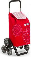 GIMI 154313 Carrello Spesa 51x41xh102 cm Tris Floral Rosso Telaio in acciaio