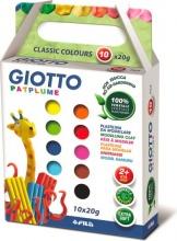 Giotto 512900 Confezione 10 Patplume Colori Classici 20Gr