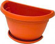 ICS R75040 Vaso Parete Plastica Fiori Piante con Sottovaso cm. 40x23x26 - Mimosa