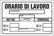Ist 0770 3300 Targa Segnaletica Orario Di Lavoro Pezzi 10