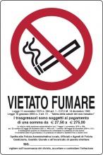 Ist P0024720PLBO180 Targa Segnaletica Vietato Fumare L.311  1 180x120 Pezzi 10