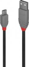 LINDY 36732 1M USB 2.0 Cable Cavo USB USB A Micro-USB B Nero Grigio