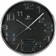 LOWELL Orologio da Parete ø 30 cm Cassa in ABS cromata Quadrante Nero - 00820 N